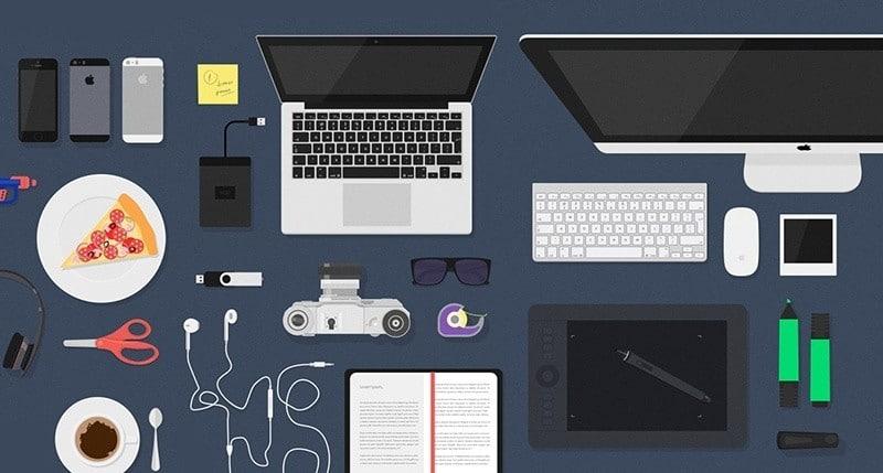 Flat Desk Items Mockup Free PSD