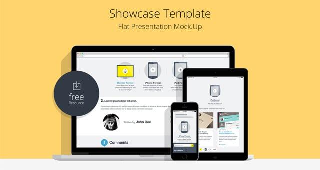 Flat Responsive Showcase Mockup Free PSD