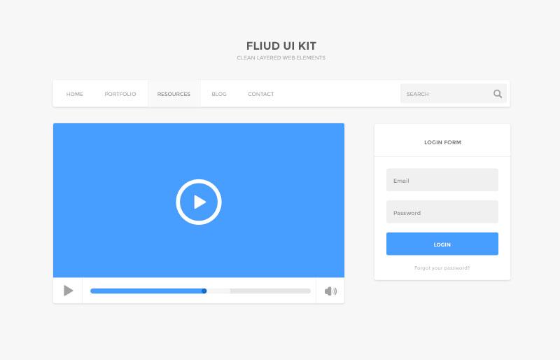 Fluid UI Kit Free PSD