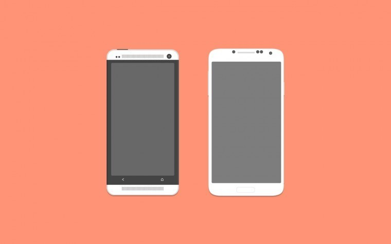 HTC One & Samsung Galaxy S4 Phone Mockups Free PSD
