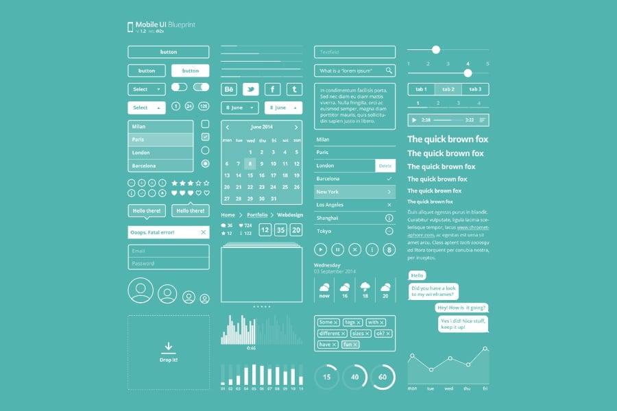 Mobile UI Kit Blueprint Free PSD