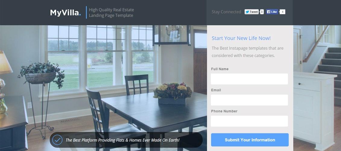 MyVilla - Real Estate Instapage Template