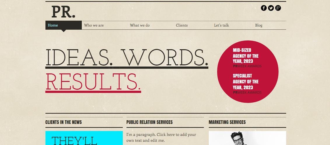 Public Relations Marketing Website Template