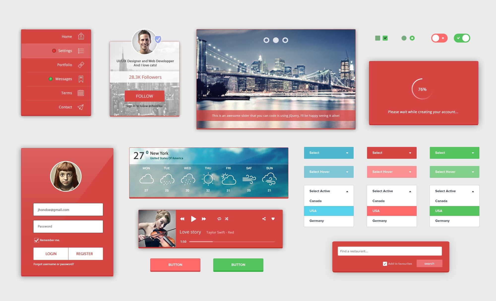 RedLight Complete UI Kit Free PSD
