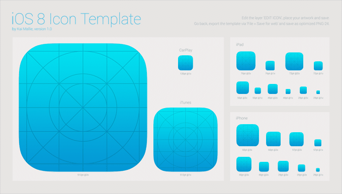iOS 8 App Icon Template Free PSD