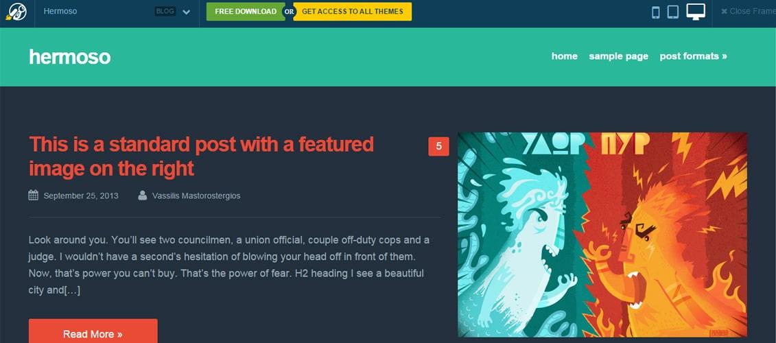Hermoso - A free WordPress blog