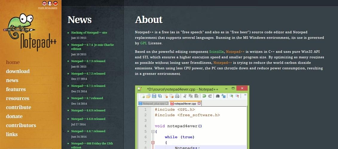 Notepad++ Free Code Editor