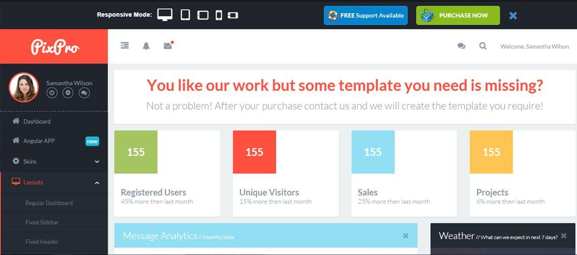 PixPro + AngularJS - All You Need Admin Dashboard
