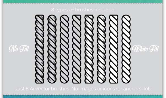 8 Nautical Rope Brushes Illustrator Add-on
