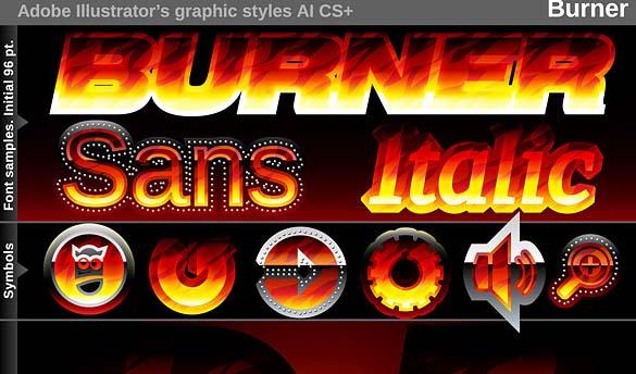 Illustrator Graphic Styles - Burner