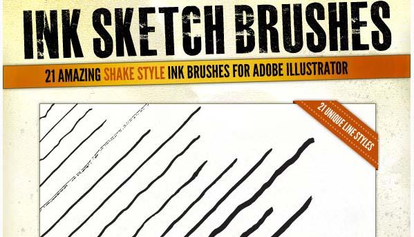 Ink Sketch Lines - 21 Illustrator Brushes Illustrator Add-on