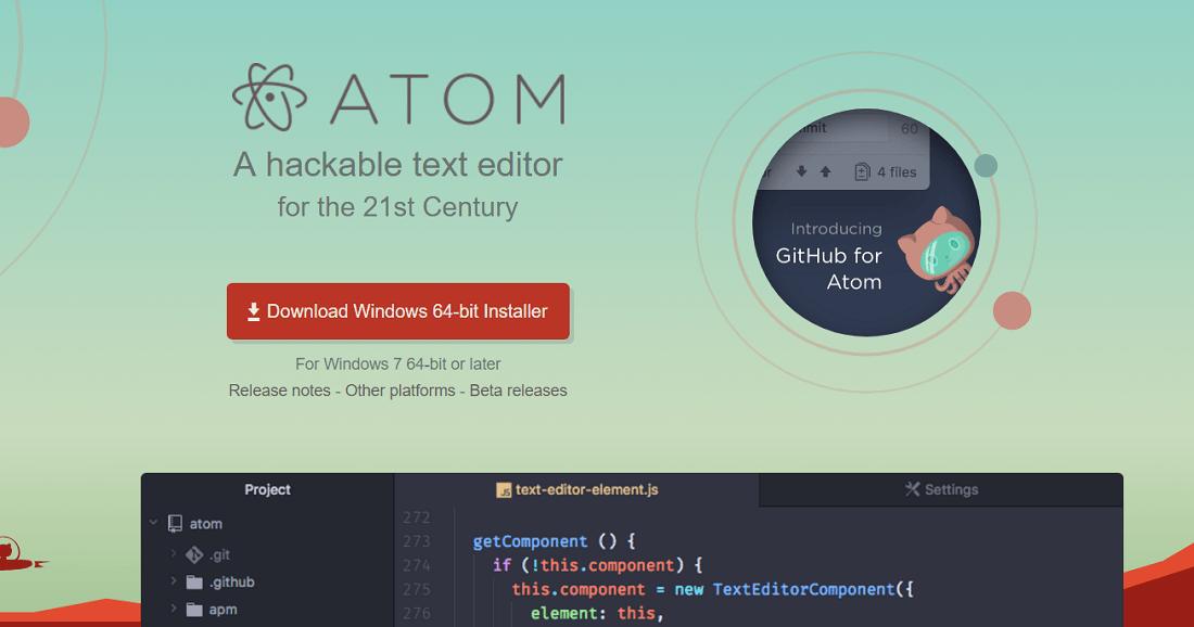 Atom free code editor