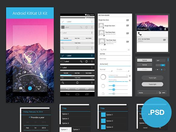 Android Kitkat UI PSD free psd app templates