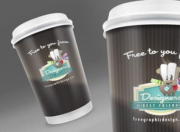 Embalaje de taza de café gratis PSD Mock Up