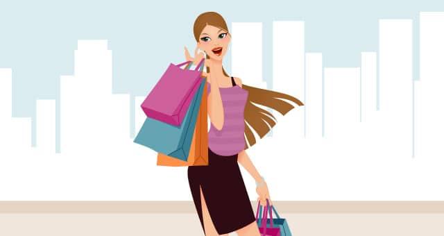 Fashion Shopping Girls Vector Art