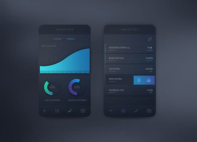 Invoices app concept PSD