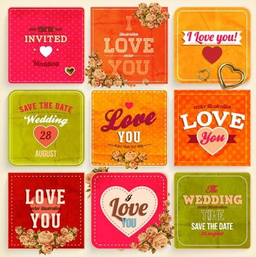 Colorful Wedding Card Set Vector