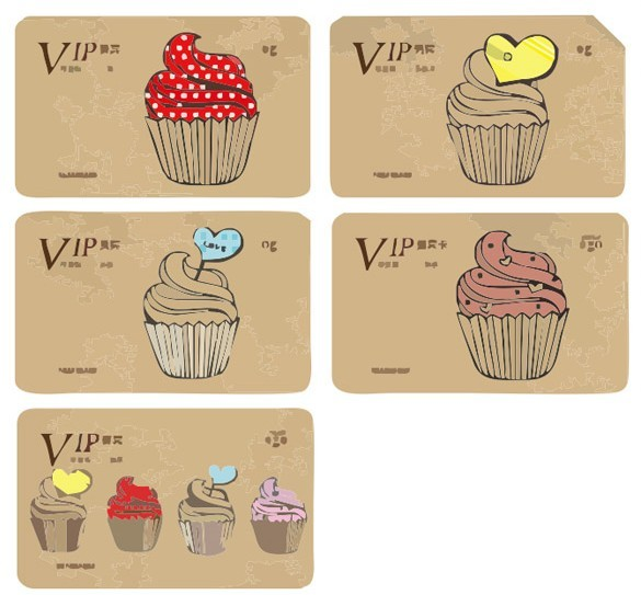 Cupcake VIP Card Template Set Vector