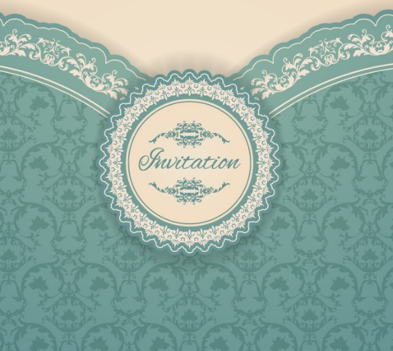 Elegant Vintage Invitation Card Vector