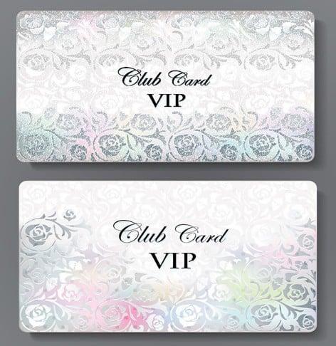 Metal Floral Club VIP Card Template Vector