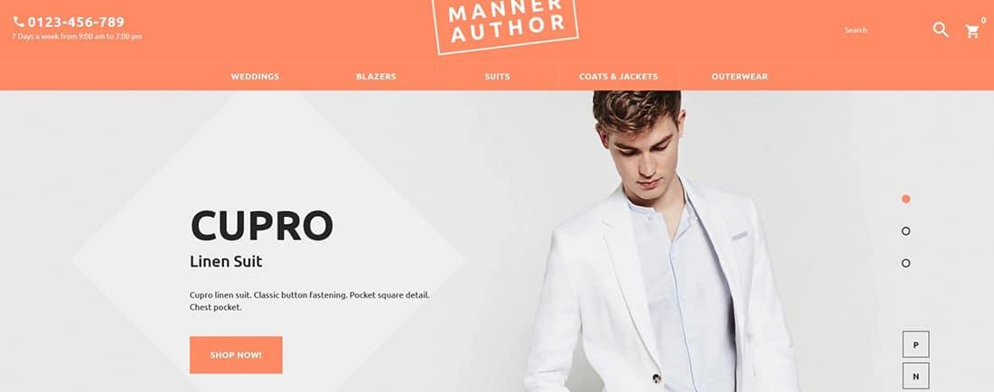 MannerAuthor - Mens Clothing Online PrestaShop Theme