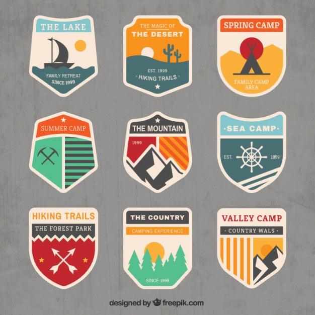 Adventure vintage Free Vector Badges