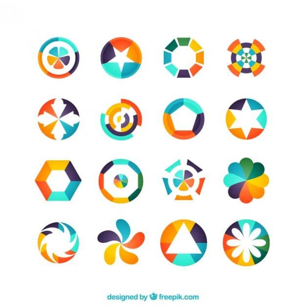 Colorful geometric logos