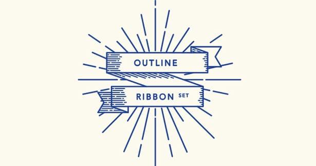 Retro-Outline-Ribbon-Vector-Set