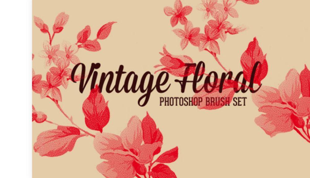 Vintage Floral Photoshop Brush Set