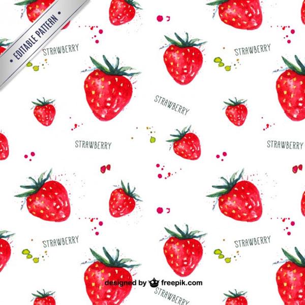 Watercolor-strawberries-pattern