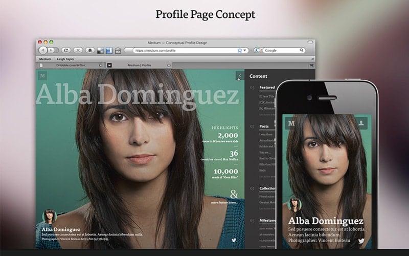 Medium Profile Concept Web App Designs
