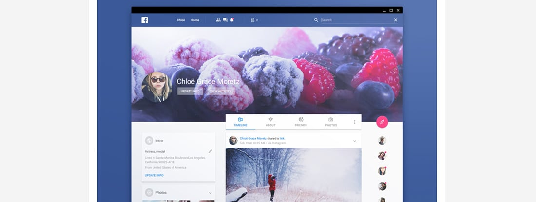 Material Facebook Bro Social Network Designs