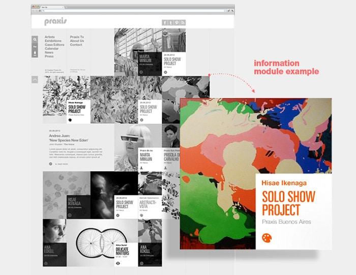 Praxis International- Art grid website