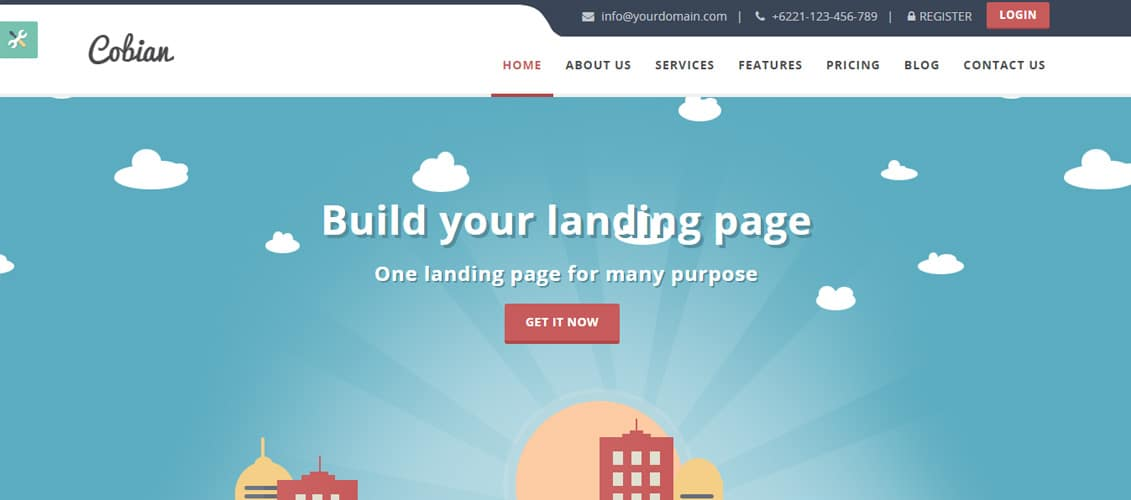 Cobian Flat Bootstrap Landing WordPress Theme