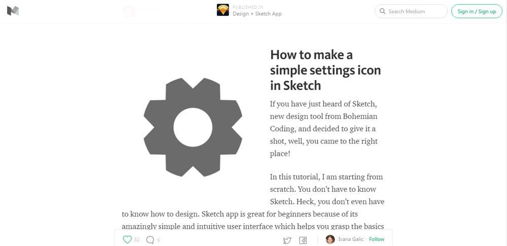 Sketch App Tutorials settings icon