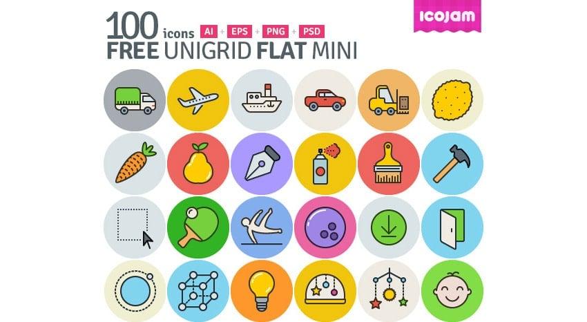 Unigrid Flat Free Icon Sets