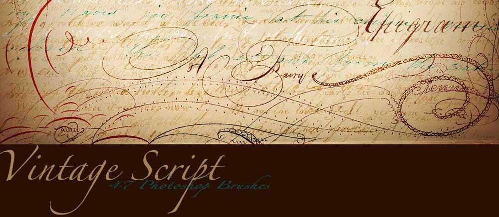 5 Vintage Script Brush Sampler