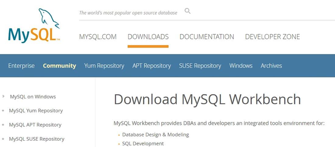 MySQL __ Download MySQL Workbench