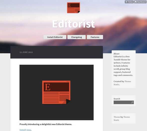 13 Editorist Infinite scroll Free Tumblr Themes