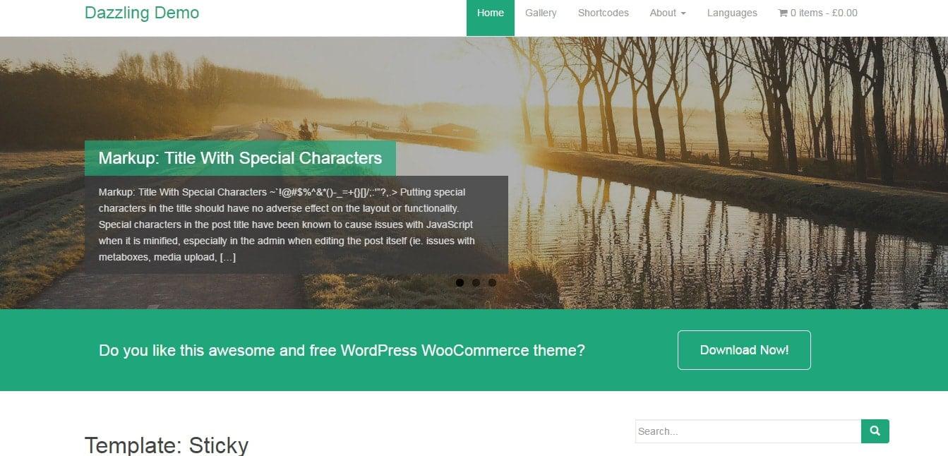 Dazzling Demo - Free Flat Design WordPress Bootstrap Theme
