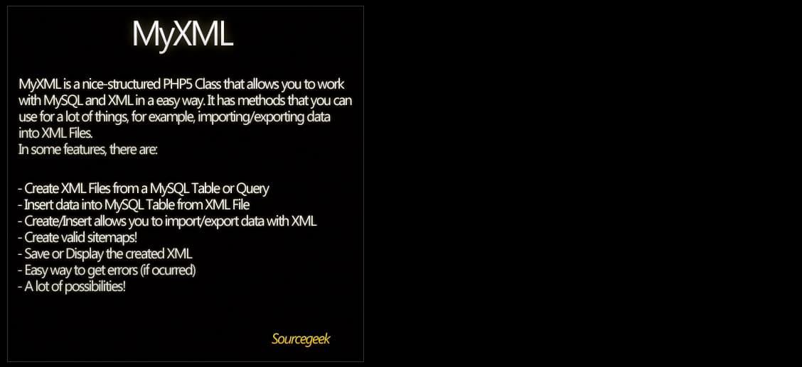 MyXML - Work with MySQL+XML Preview - CodeCanyon