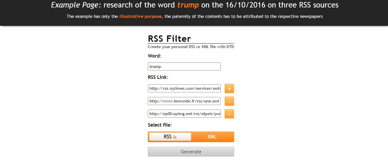 RSS Filter search script