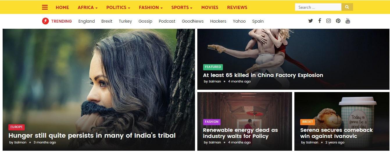 Trends News Magazine Responsive Blogger Template blog website templates