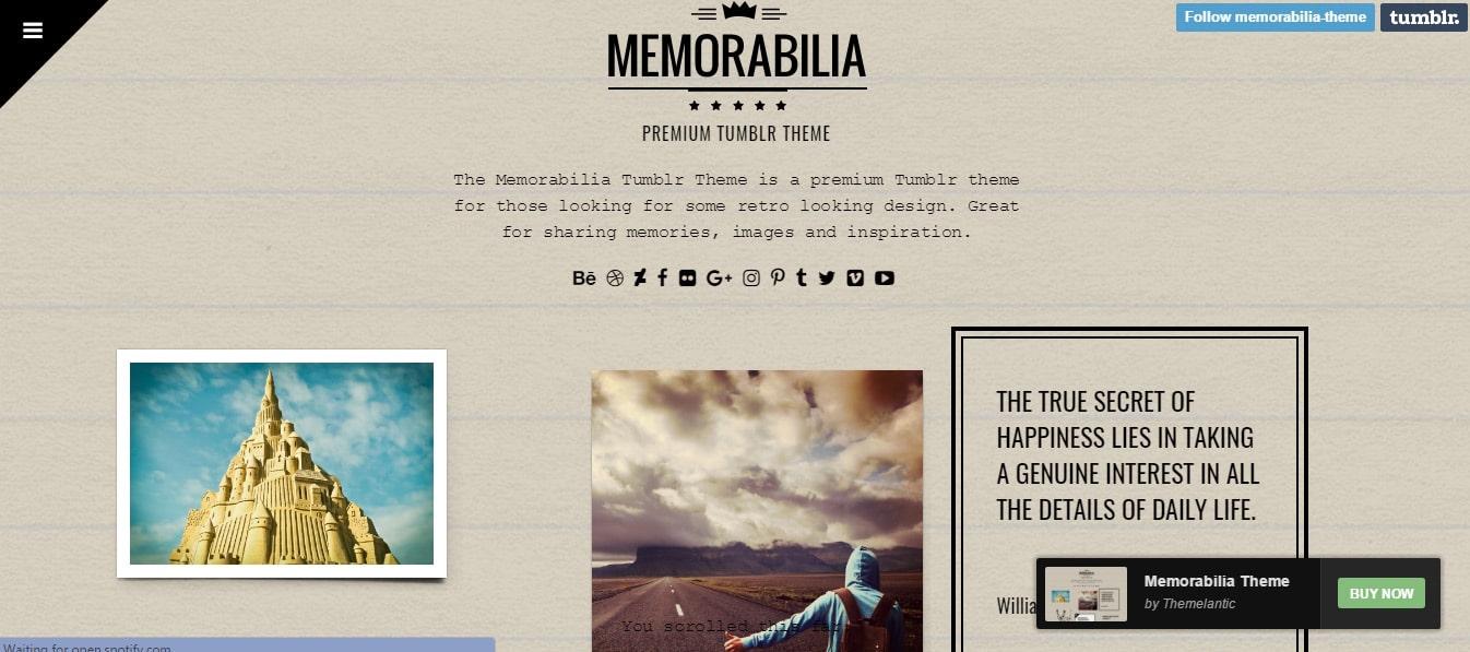 Memorabilia Tumblr Theme blog website templates