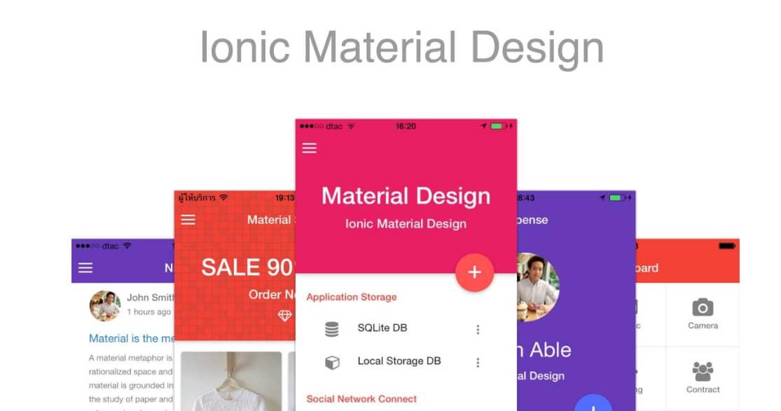 Ionic Material Design web app templates