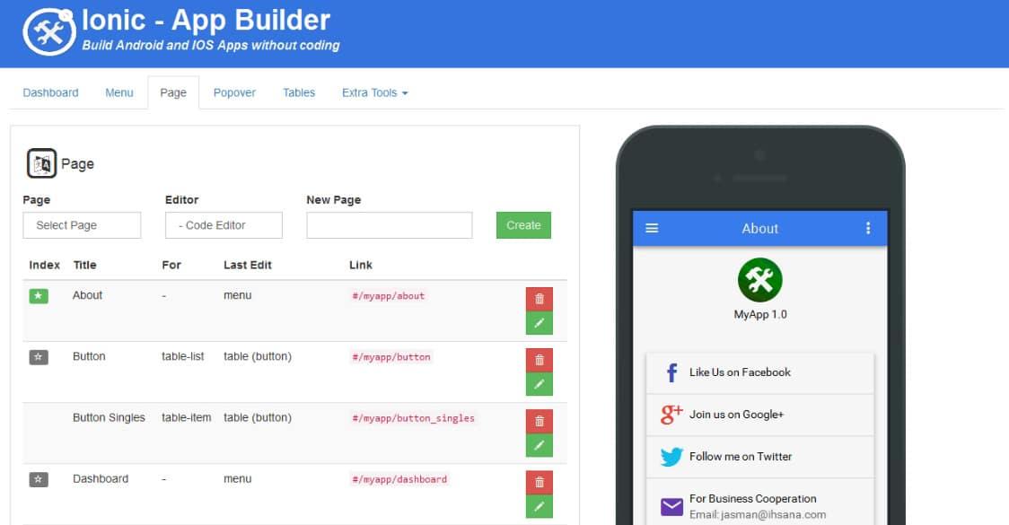 Ionic Mobile App Builder web app templates