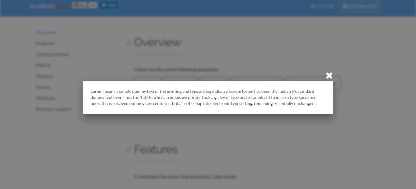 Custombox Modal dialog jQuery Modal Dialogs