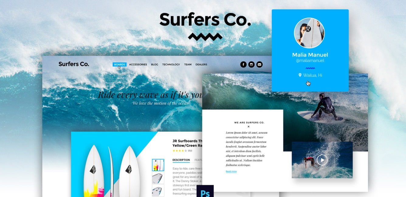 Surf Shop Free Photoshop Website Templates
