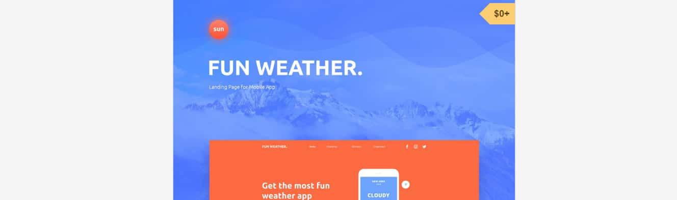WeatherApp Photoshop Website Template