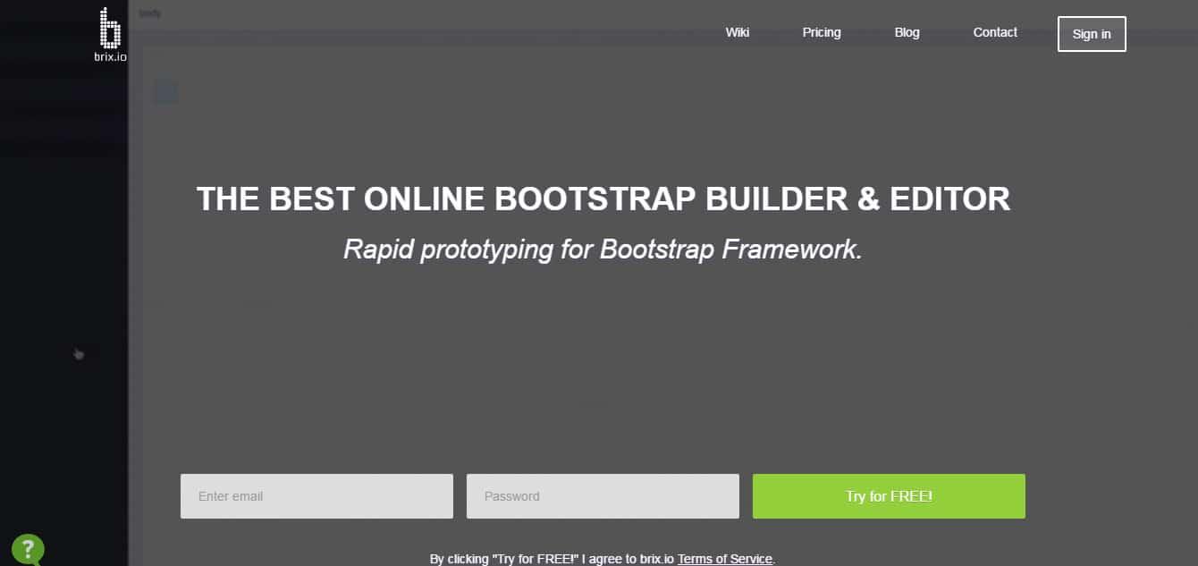Bootstrap Builder Brix.io